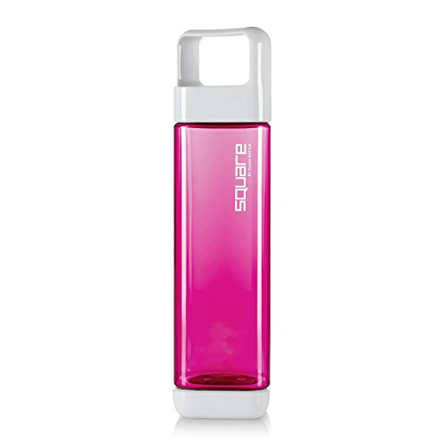 Clean Bottle Tritan Square BPA-Free Water Bottle, Opens from Both Ends, 25 Ounce, Raspberry