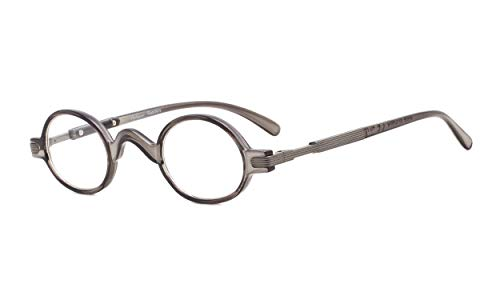 Eyekepper Readers Spring Temple Vintage Mini Small Oval Round Reading Glasses Grey ()