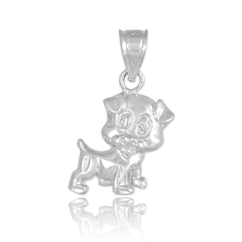 10 ct 471/1000 - Or Blanc Coupee Puppy-Charme-Pendentif
