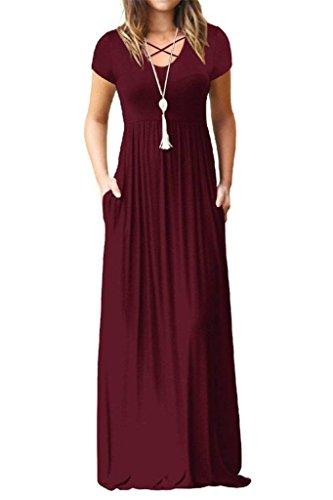 EZBELLE Womens Short Sleeve Maxi Dresses with Pockets Plain Loose Long Dresses