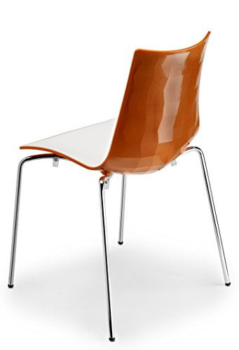 Zebra Modern Stackable and White Dining Chair with Chrome Legs, Orange - Parada One Design 2272 211