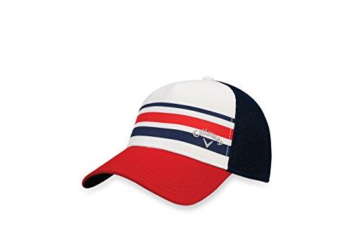 Callaway 2017 Stripe Mesh Hat, White/Navy, Large/X-Large