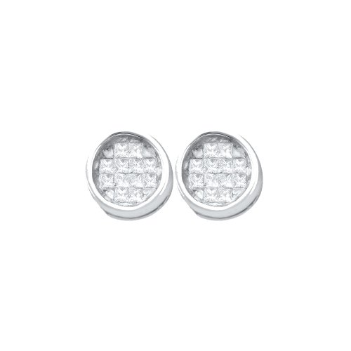 Dazzlingrock Collection 0.25 Carat (ctw) 14K Diamond Invisible Earrings, White Gold