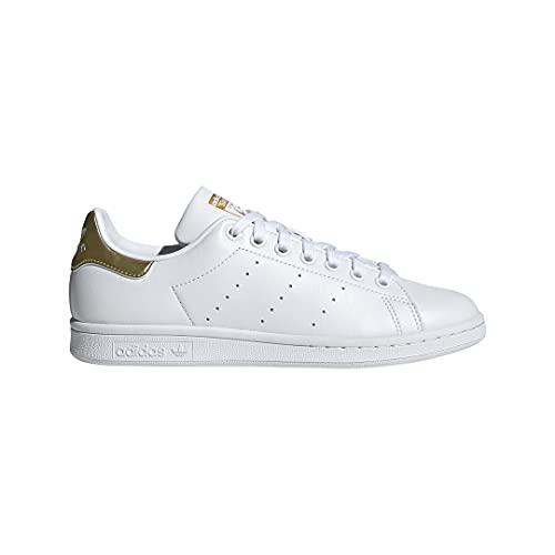 adidas Originals Women's Stan Smith (End Plastic Waste) Sneaker, White/White/Gold Metallic, 8