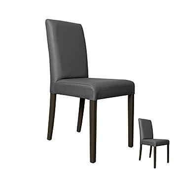 tousmesmeubles duo de chaises simili cuir gris sonia l 49 x l 44 x h - Chaise Simili Cuir