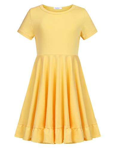 Arshiner Girls Dress Short Sleeve Cotton Loose Twirly Skater Party Dresses Upgrade Yellow -