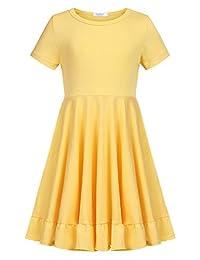 Arshiner Girls Short Sleeve Casual Dress Cotton Loose Solid Pocket T-Shirt Skirt