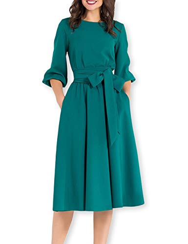 AOOKSMERY Women Elegance Audrey Hepburn Style Round Neck 3/4 Puff Sleeve Puffy Swing Midi Dress with Belt (Dark Green, Medium) ()