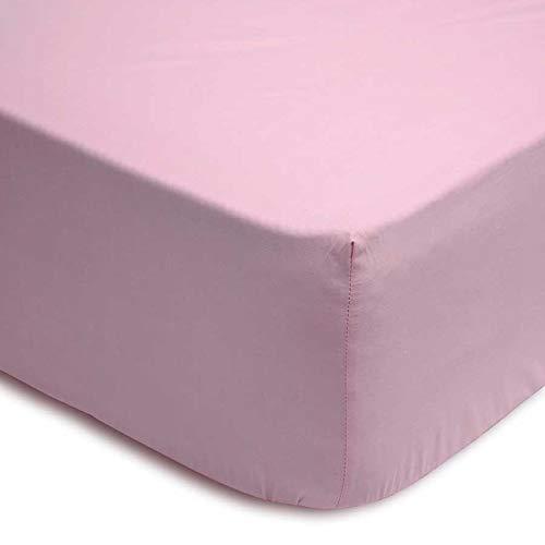 (Rosa 90) 100% Cotton SABANA Bajera Lisa Ajustable con ELASTICO Inferior Adaptable COLCHON hasta 30 CM REGALITOSTV (Rosa, 90_x_200_cm (Cama Individual))