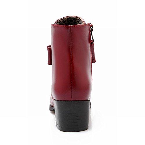 Carolbar Donna Archi Cerniera Moda Retrò Casual Tacco Medio Stivaletti Vino Rosso