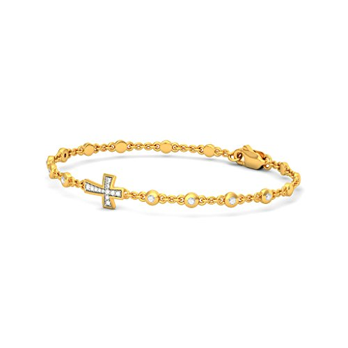 14 K Or jaune, 0.221 CT TW Round-cut-diamond (Ij| SI) Identification-bracelets