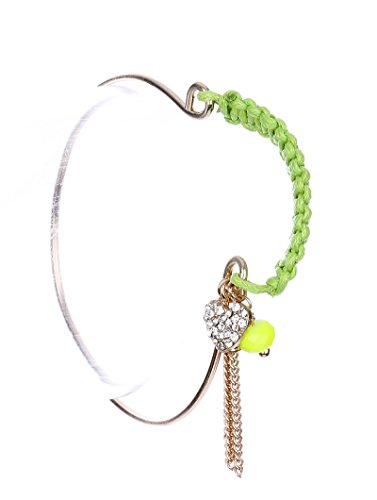 Woven Neon Cord Wire Bangle Tassel Chain Heart Charm Lucite Bead 2 1/4 Inch Diameter 3/4 Inch Drop Bracelet