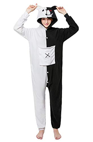 Apiidoo Halloween Christmas Adult Animal Pajama One Piece Cosplay Onesie Costume Black White Bear XL ()