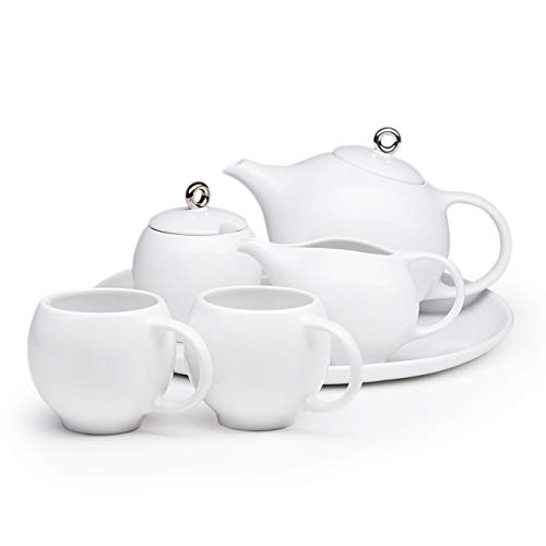 (Maia Ming Designs | Modern Ceramic tea set | 20 oz. Teapot with infuser, 2 teacups, Milk Pitcher, Sugar Bowl, Serving Platter | Glossy White Porcelain w/Silver | Inspired by)