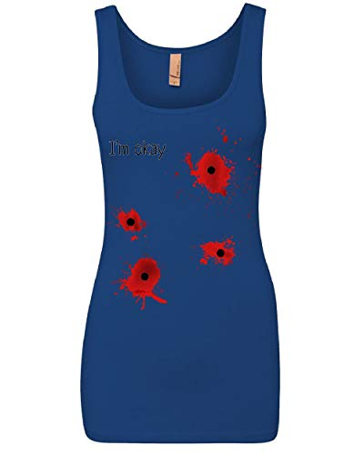 I'm Okay Halloween Women's Tank Top Funny Bullet Hole Blood Stained Top Royal Blue XL -