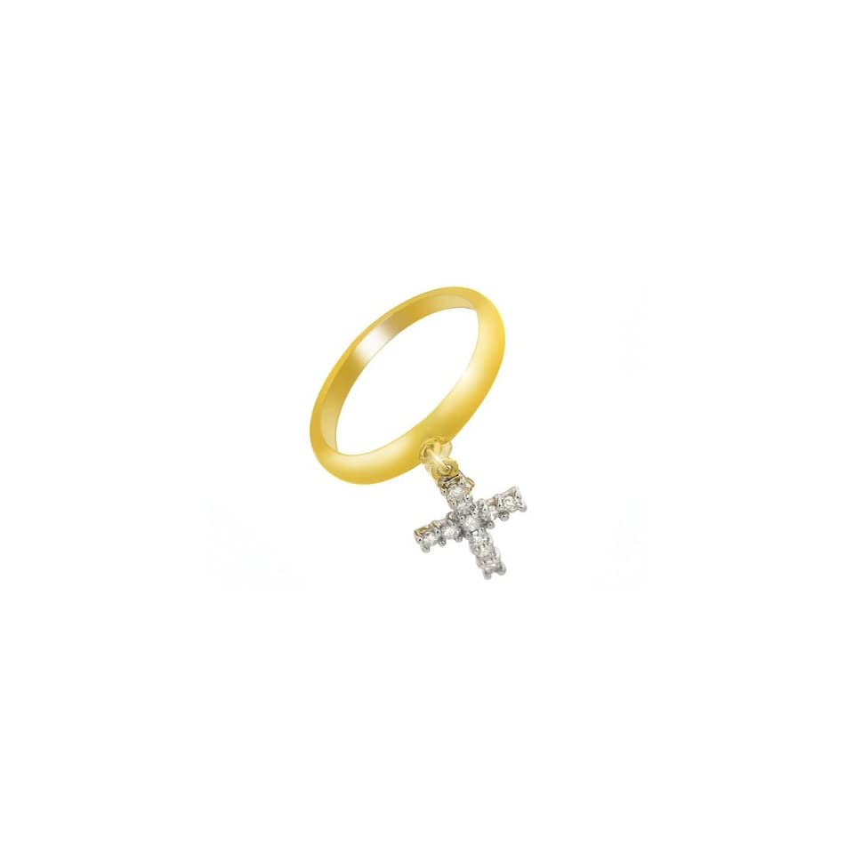 9ct Yellow Gold Diamond Cross Charm Ring
