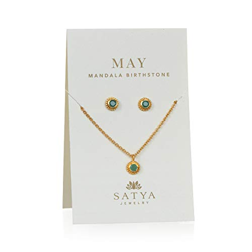 Satya Jewelry Birthstone Set Women's Emerald Gold May Necklace & Earrings Set, One Size
