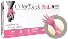 X-Small Support Breast Cancer Funding MicroFlex Color Touch Pink Latex Gloves 1 Box OF 100 Gloves