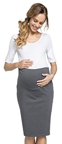 352d1d2047e67 Womens Maternity Pencil Skirt Overbump Elastic Panel Pregnancy. 523p  (Graphite,