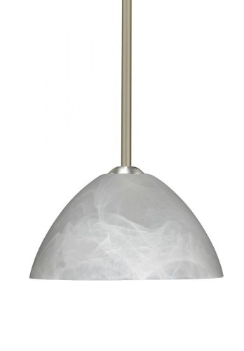 Besa Lighting 1TT-420152-LED-SN 1X6W GU24 Tessa LED Pendant with Marble Glass, Satin Nickel Finish