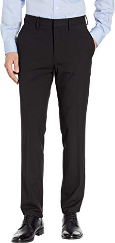 (Kenneth Cole REACTION Men's Solid Gab Four-Way Stretch Slim Fit Dress Pants Black 38)
