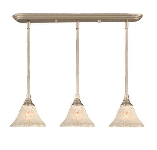 Toltec Lighting 25-BN-751 Multi Light Mini-Pendant Brushed Nickel Finish with Frosted Crystal Glass, 7-Inch - Brushed Nickel 100w Stem