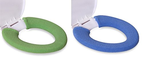 KLOUD City 2Pack Soft and Warm Thicken Toilet Seats Covers (Green + Dark Blue) (Toilet Seat Cover Green)