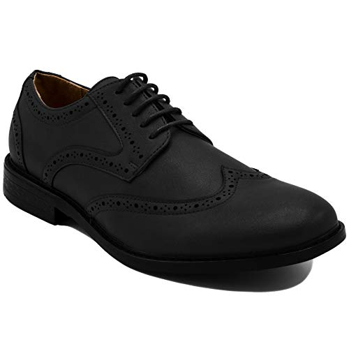 Nautica Men's Dress Shoes Wingtip, Lace Up Oxford Business Casual-Miles-Black Burnished-8.5]()
