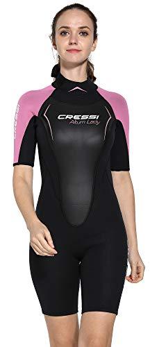 Cressi Damen Altum Lady Wetsuit Shorty Neoprenanzug Premium Neopren 3mm, Schwarz/Pink, Large