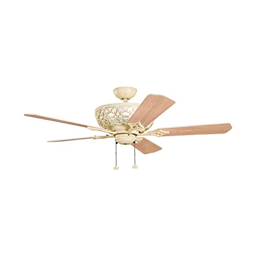 Aged White Cortez 52in. Indoor Ceiling Fan with 5 Blades - Includes Light Kit, 4in. and 12in. Downrods