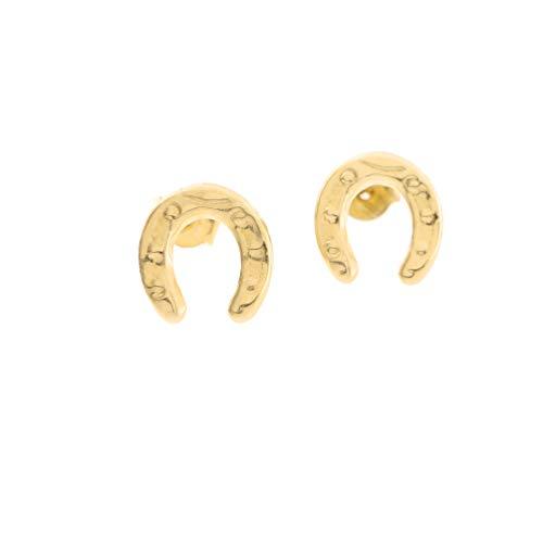 14k Yellow Gold Textured Horseshoe Stud Earrings