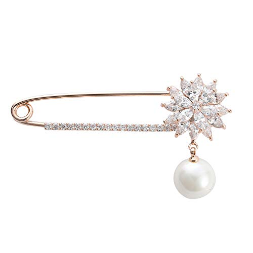 MOHTASHAM Rose Gold pin Stick brooches with a Pearl Pendant Sparkling Crystals Fashion Brooch Christmas Birthday Party Gifts Coat Accessories for Women
