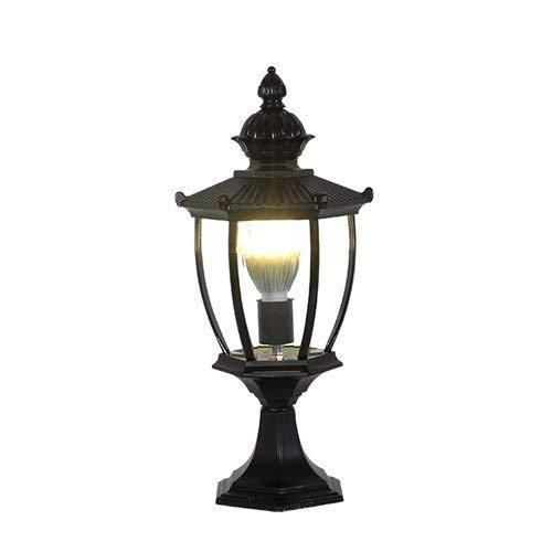 European Exterior Column Post Lantern Outdoor Waterproof IP55 Fence Wall Lamp for Villa Garden Landscape Street Terrace Park 1-Light Pillar Lamp (Color : Black)