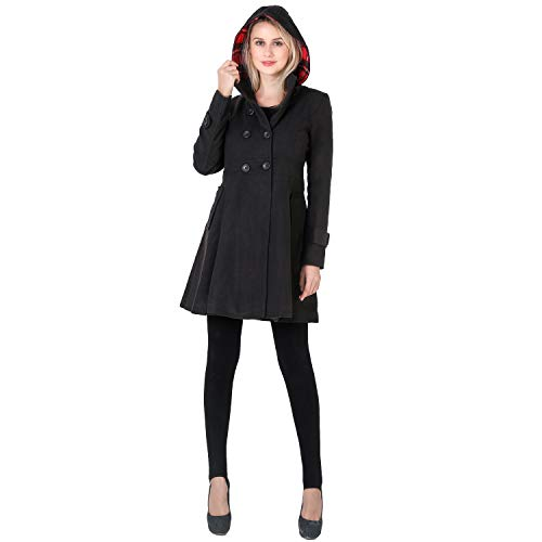 VERGOODR Women Winter Swing Double Breasted Wool Pea Coat Dress with Hood Spring Mid-Long Long Sleeve Standing Collar Dress Coats (Black, 2XL)