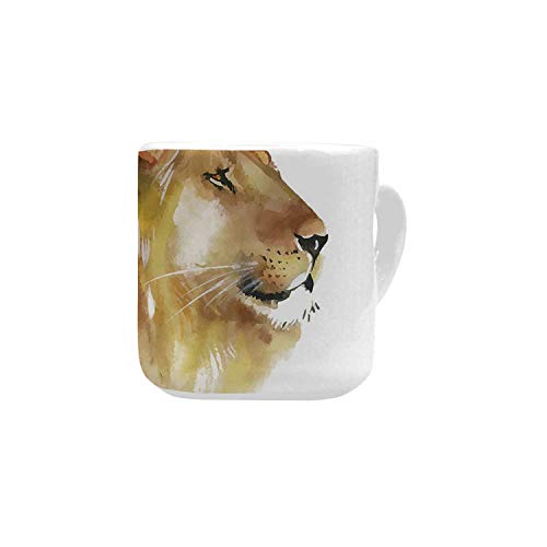 Animal White Heart Shaped Mug,Lion Head Portrait King of the Forest Wild Creature Power Watercolor Art Decorative for Home,2.56