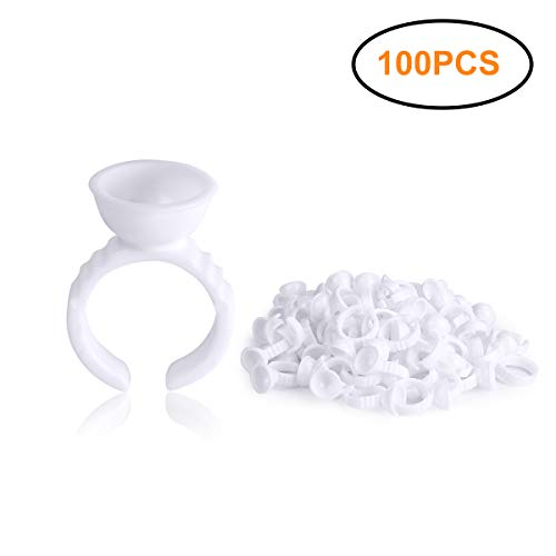 100PCS Disposable Tattoo Pigment Rings, Nail Art Eyelash Extension Glue Rings Cups Holder (Best Professional Eyelash Extension Glue)
