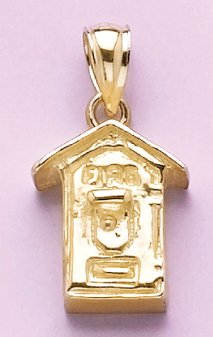 Gold Misc Charm Pendant Fire Alarm Box 2-D by Million Charms