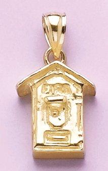 Gold Misc Charm Pendant Fire Alarm Box 2-D