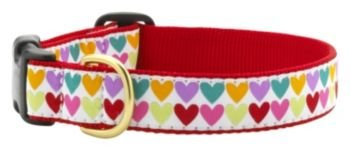 "Up Country Pop Hearts Dog Collar M (12-18""); Wide 1"" ()"