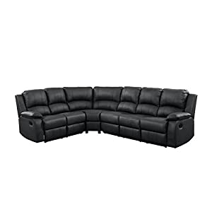 Divano Roma Furniture Large Classic and Traditional Bonded Leather Reclining Corner Sectional Sofa