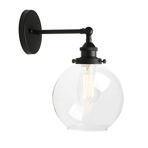 (Pathson Industrial Wall Sconce, Antique Finished Lamp Vintage Style Light Fixtures with Round Clear Glass Globe Shade for Bathroom Lighting)