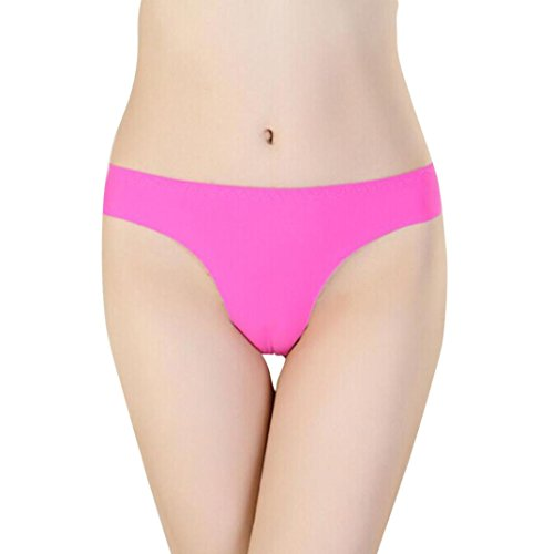 - Livoty 2018 Hot Women Invisible Underwear Thong Cotton Spandex Gas Seamless Crotch (Hot Pink)