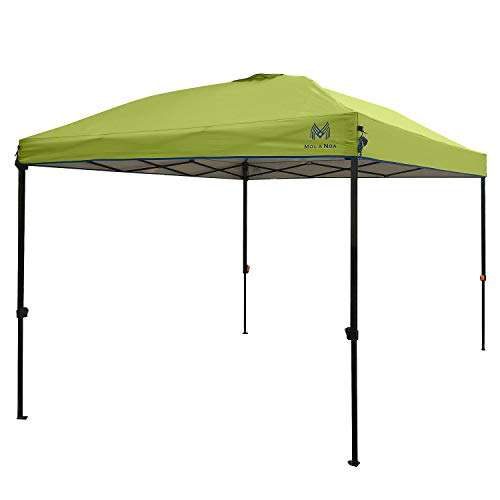 (MOLA NOA Pop up Canopy Tent 10' x 10' Instant Shelter with Wheeled Carry Bag, Straight Leg (Green) )