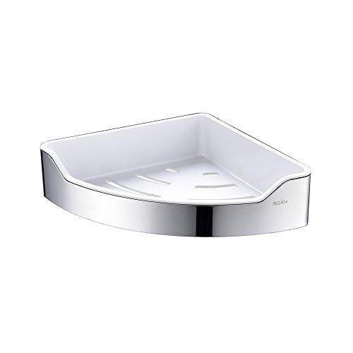 CIENCIA Chrome Triangle Corner Caddy Bathing Platform With Hooks Kitchen Wall Nail Storage For ()