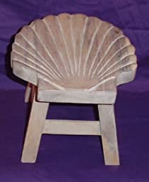 Scallop Shell Hand Carved Wooden Foot Stool (Whitewash Finish)
