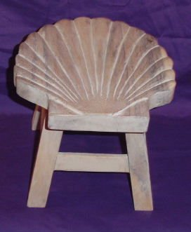 Scallop Shell Hand Carved Wooden Foot Stool (Whitewash Finish) by In the Garden and More