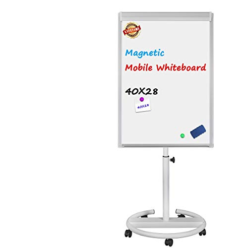 - Magnetic Mobile Whiteboard - 40x28 inches Mobile Dry Erase Board Height Adjustable Rolling Whiteboard Dry Erase Easel Board