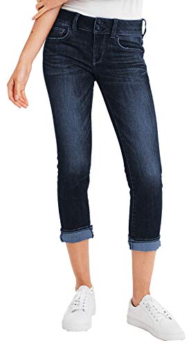 - American Eagle Womens 9496939 Low Rise Artist Crop Denim Jean, Saturated Indigo (4R)