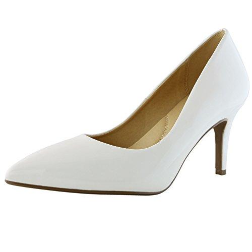 Women's High Heel Stiletto Pointed Toe Pumps(White) - 5
