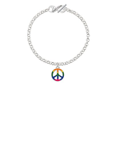 Silvertone Large Rainbow Colored Peace Sign God's Love Infinity Toggle Chain Bracelet, 8'' by Delight Jewelry